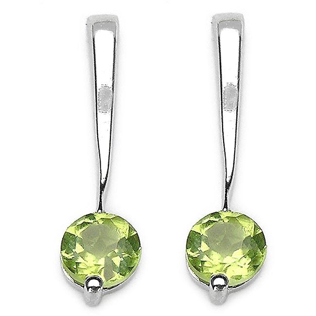 Malaika Sterling Silver Genuine Peridot Round-cut Earrings