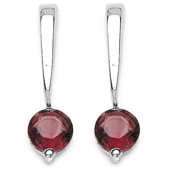 Malaika Silver Round Garnet Earrings