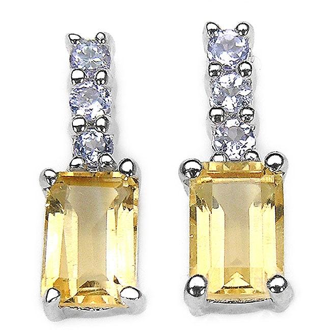 Malaika Sterling Silver Citrine and Tanzanite Earrings