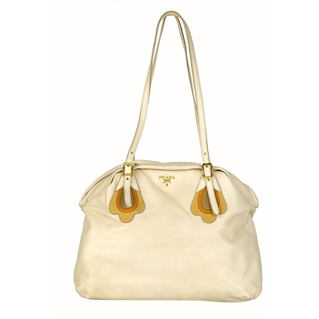Prada \u0026#39;Flowers\u0026#39; Beige Nappa Leather Shoulder Bag - 11890835 ...