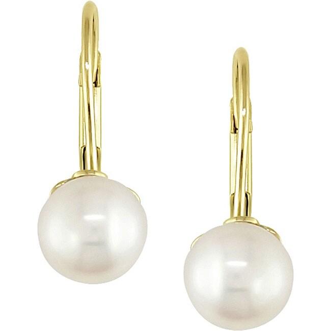 10k Gold Freshwater Pearl Children's Earrings (5-6 mm)