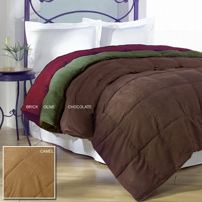 microsuede down alternative comforter overstock shopping the best prices on down. Black Bedroom Furniture Sets. Home Design Ideas