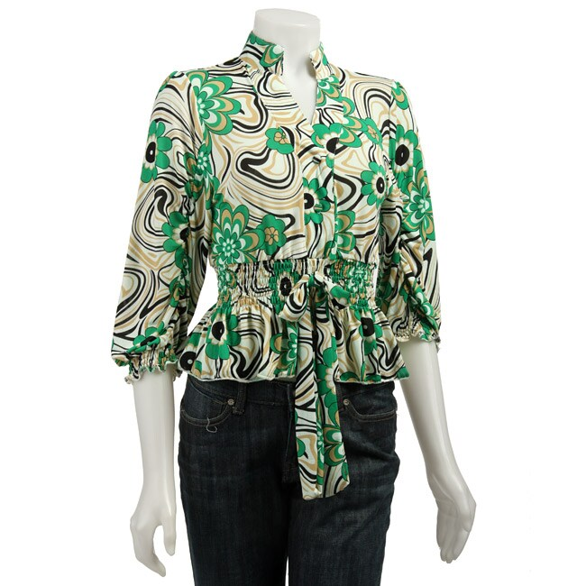 Simply Irresistible Women's Printed Shirred-waist Shirt