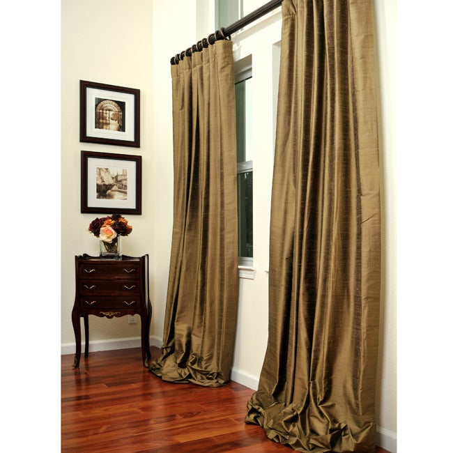 Signature Taupe/Gold 108-inch Textured Silk Curtain Panel - 11899722 ...