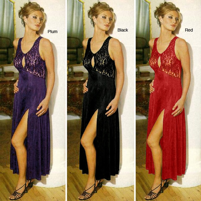 Illusions Womens Long Gown with Stretch lace Top