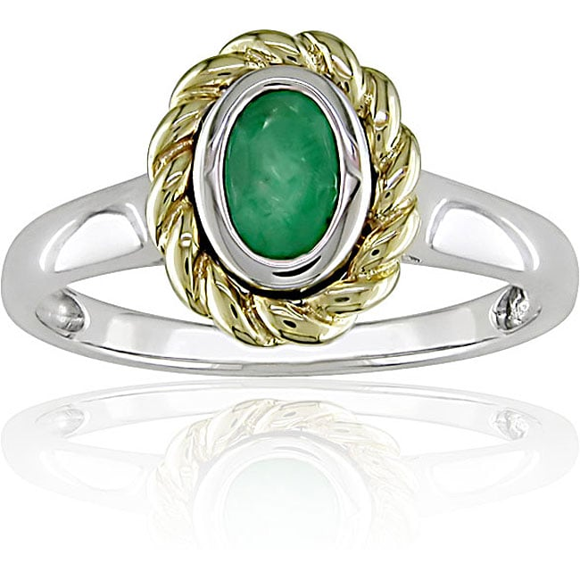 10k Two tone Gold Emerald Ring