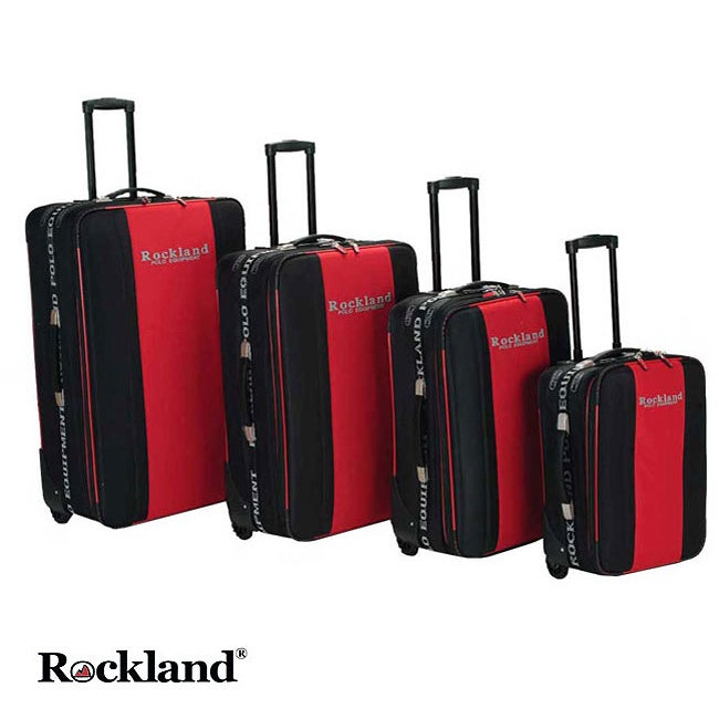 Rockland Polo Equipment Red/Black 4 piece Luggage Set