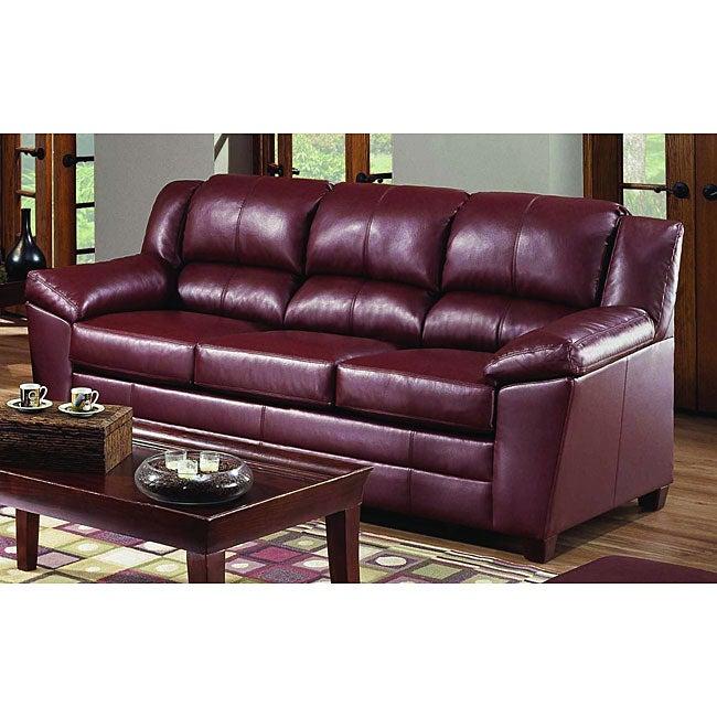 Simmons Paris Wine Leather Sofa Overstock Shopping Great Deals On Sofas Loveseats