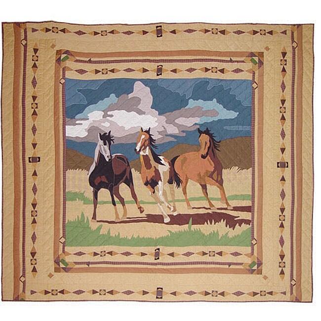 Wild Horses Print Twin Quilt