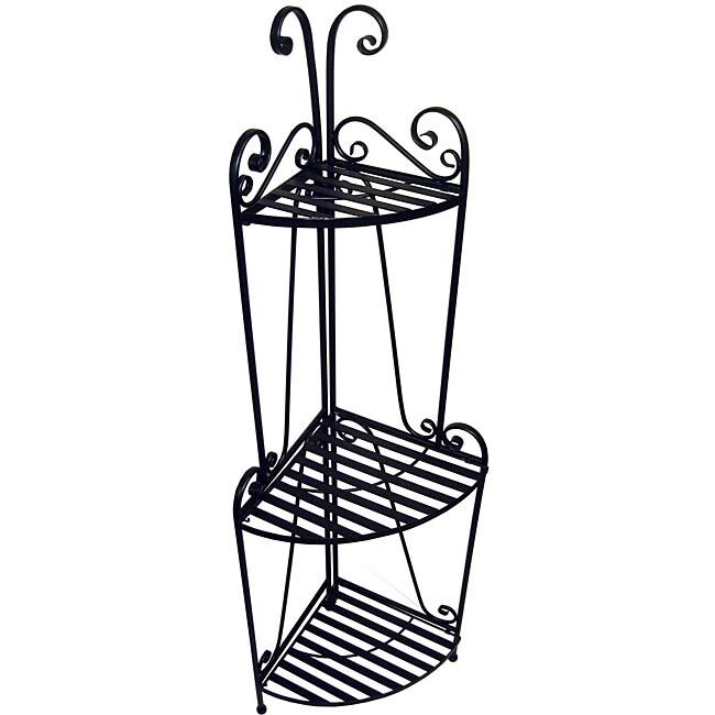 Folding Corner Black Three-shelf Baker's Rack