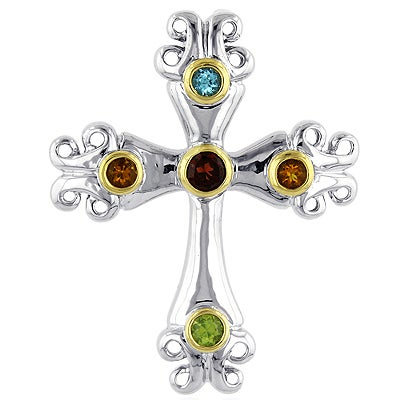 Sterling Silver and 18k Gold Multi-gemstone Cross Necklace