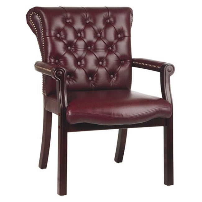 Office Star Traditional Ox Blood Top Grain Leather Chair