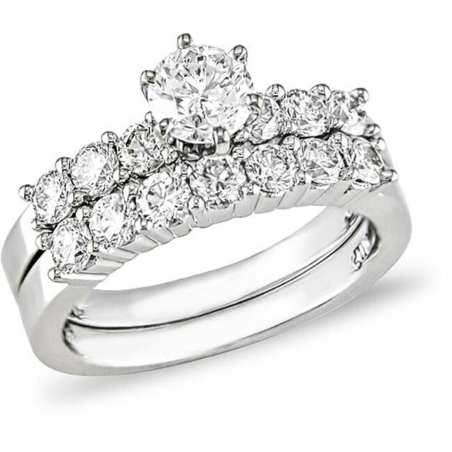 14k White Gold 1 1/2ct TDW Diamond Bridal Rings Set (G-H, I1-I2)