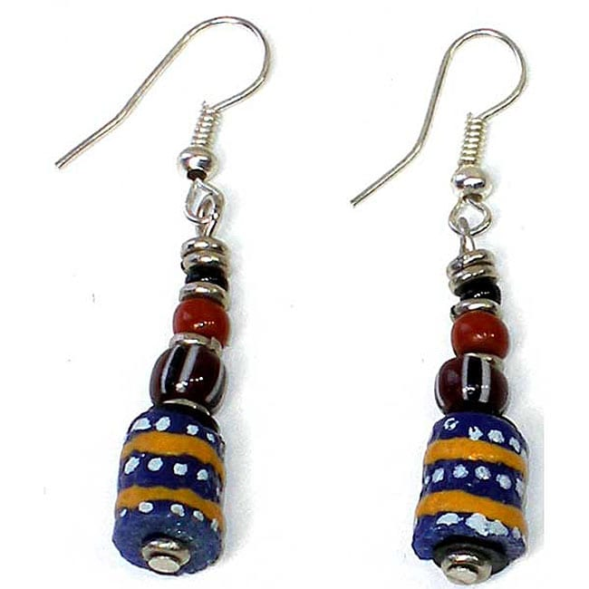Painted Blue Bead Earrings (Kenya)