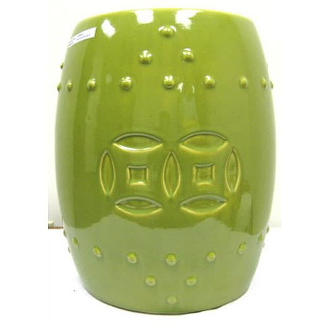 Double Coin Lime Green Ceramic Garden Stool 11942607