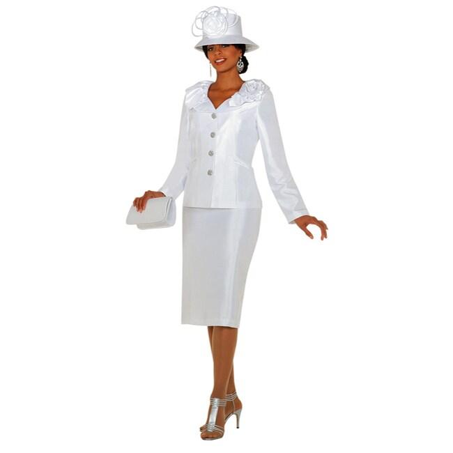 Divine Denim Women's Plus Size White Skirt Set