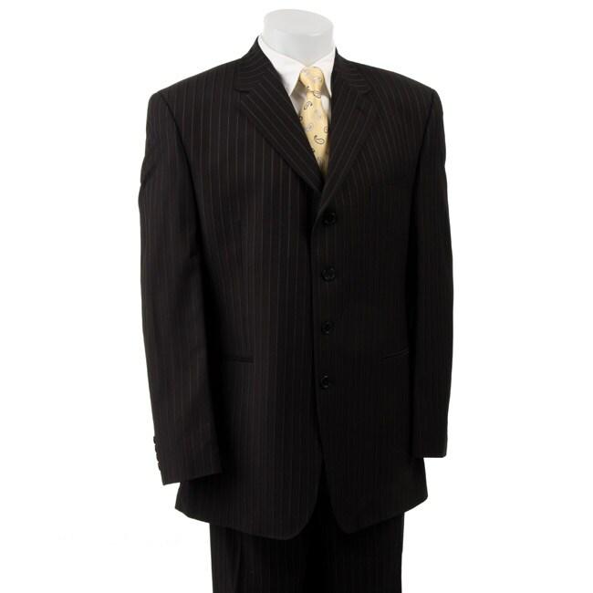 FUBU Men's Black Stripe 4-button Suit