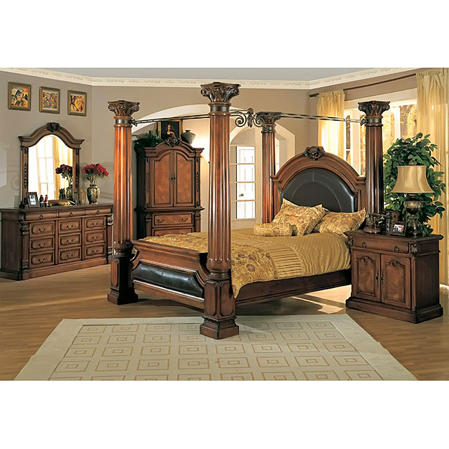 Classic canopy poster king size 4 piece bedroom set - Four poster bedroom sets for sale ...
