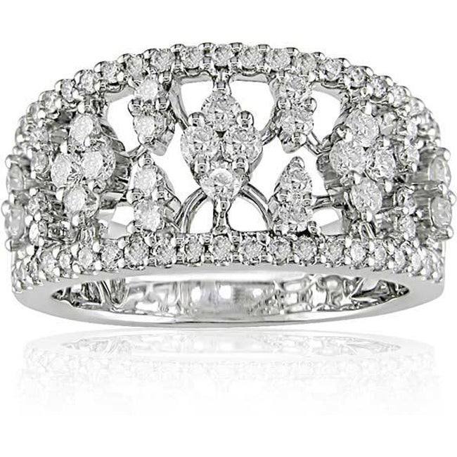 18k White Gold 1 1/10ct TDW Diamond Openwork Ring (G-H, SI1-SI2)