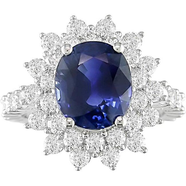 18k Gold 2 1/10ct TDW Diamond and Sapphire Ring (G-H-I, I1)