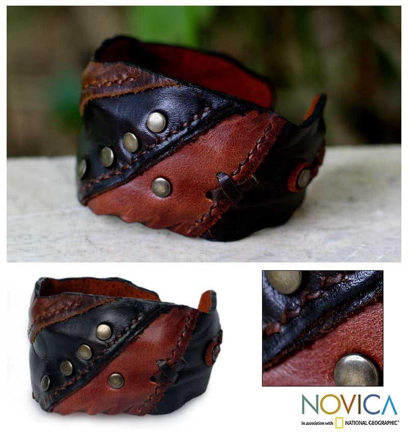 Leather 'Wild Brown' Cuff Bracelet (Thailand)