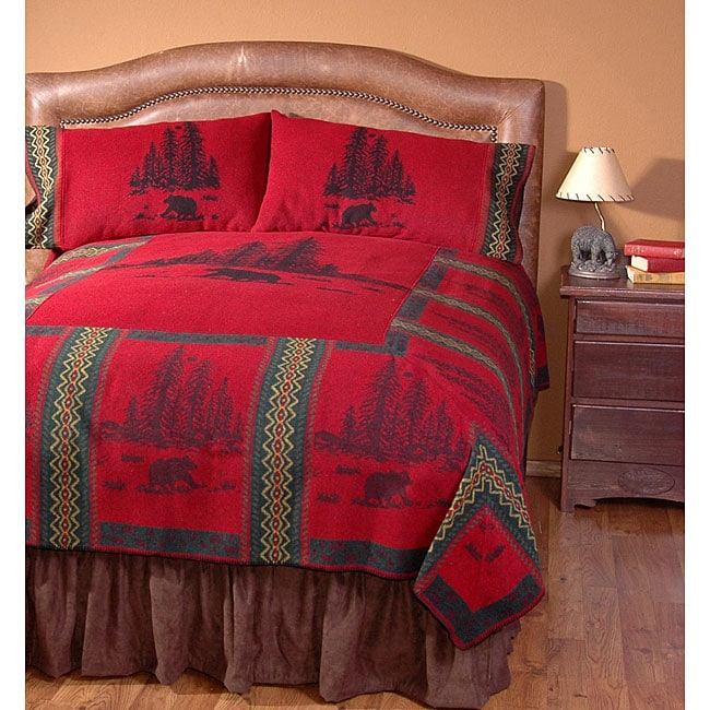 Wooded River Wooded Bear Queen-size Bedspread Set