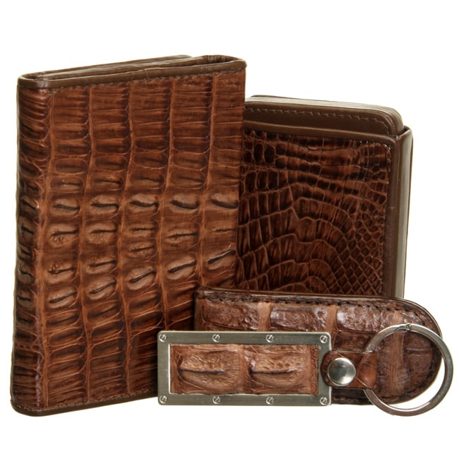 Croton 4-piece Crocodile Brown Men's Wallet Set