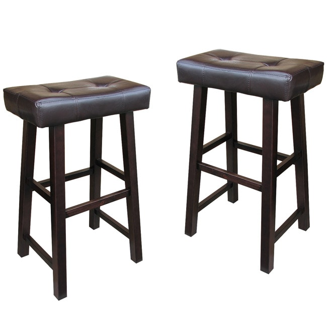 Bicast Leather 28 Inch Saddle Barstools Set Of 2