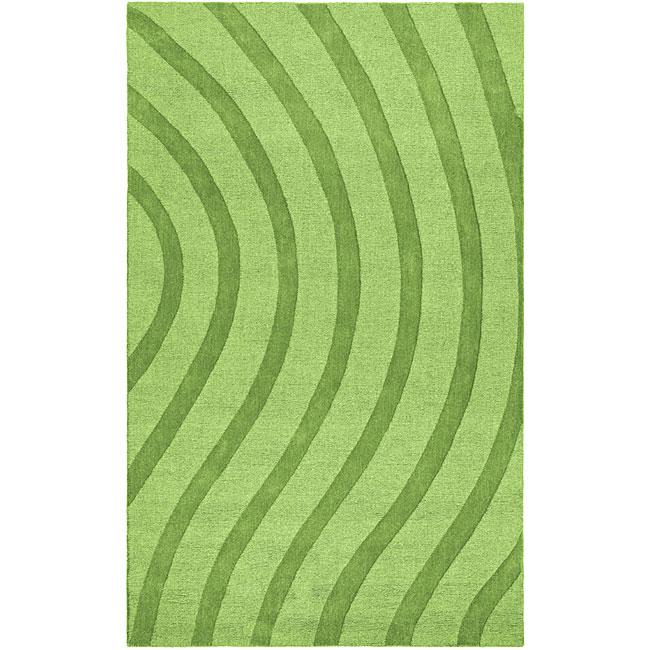 Elite Wave Green Wool Rug (8' x 10')