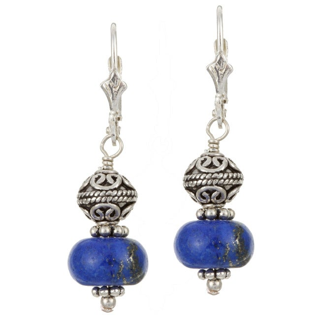 Charming Life Sterling Silver Blue Lapis Bali Bead Earrings