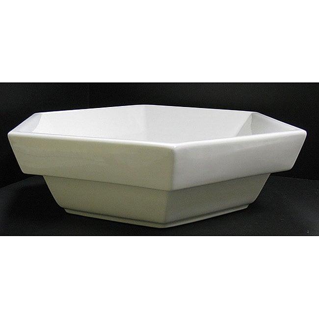 Semi Recessed Vessel Sink : DeNovo 6-sided Semi-recessed Porcelain Vessel Sink - 11970567 ...