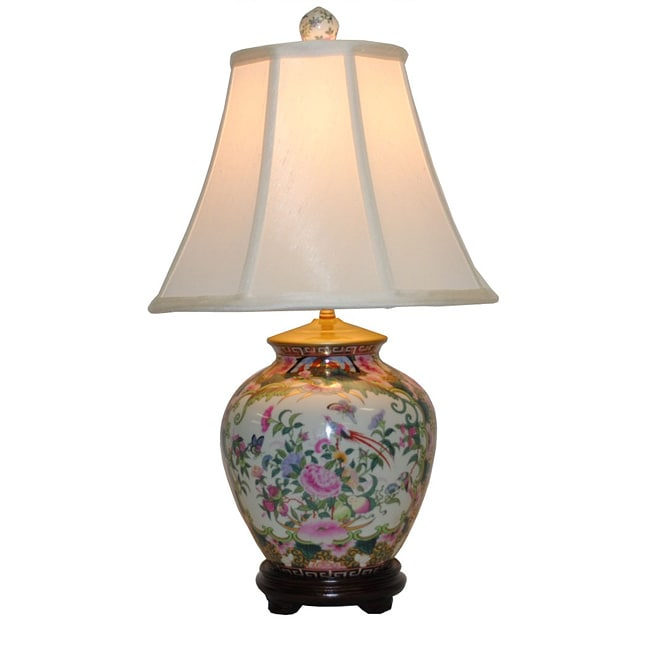 Rose Medallion Ginger Jar Lamp