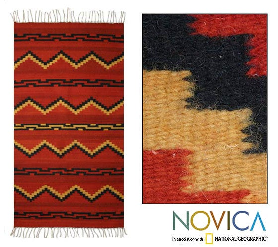 Mexican Zapotec Pattern In Black Wool Rug 2 6 X 5