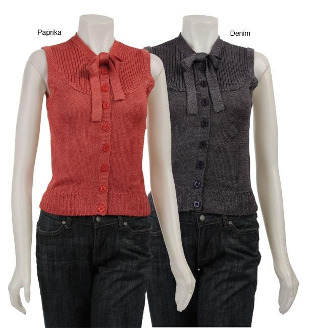 Tulle Women's Sleeveless Button-up Knit Vest