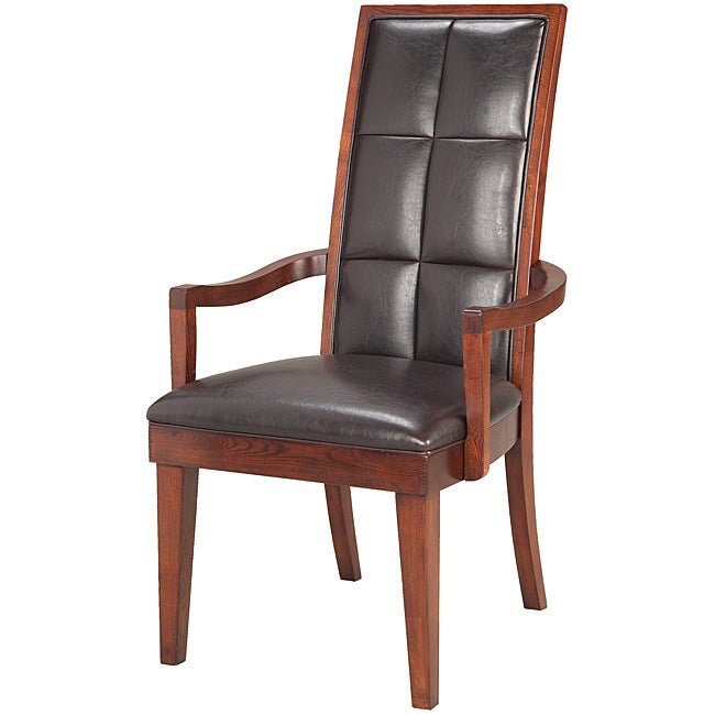 Biscuit Back Leather-Wood Arm Chair