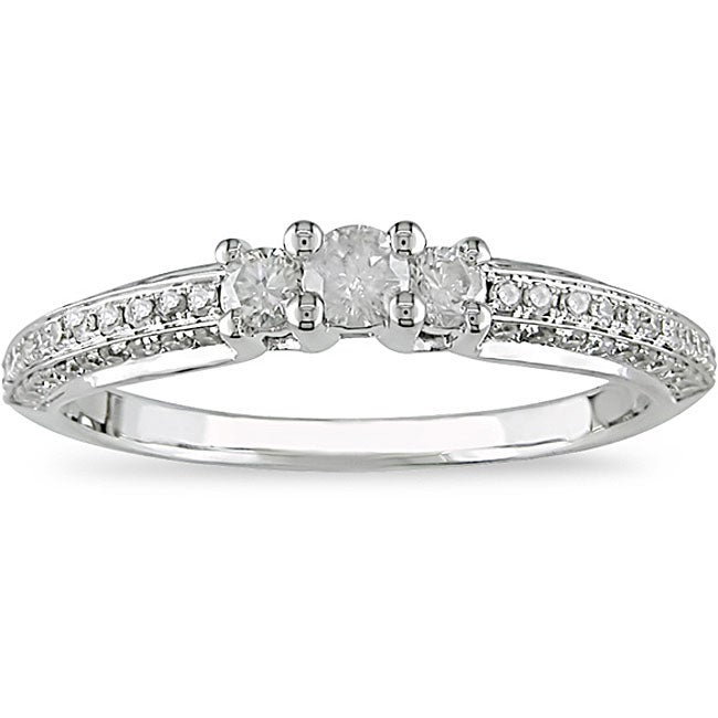 Miadora 14k White Gold 1/2ct TDW Diamond 3-stone Ring (I-J, I2-I3)