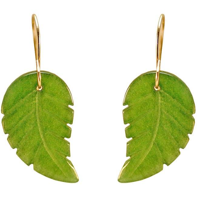 Gioelli 10k Yellow Gold Green Jade Leaf Earrings