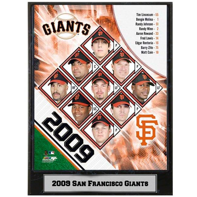 2009 San Francisco Giants 9x12 inch Photo Plaque