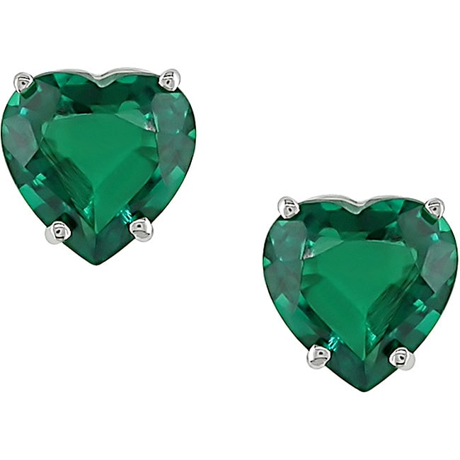 Miadora 10k Gold Heart-shaped Created Emerald Earrings
