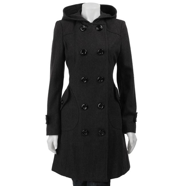 J Lo Women's 3/4-length Hooded Wool Coat