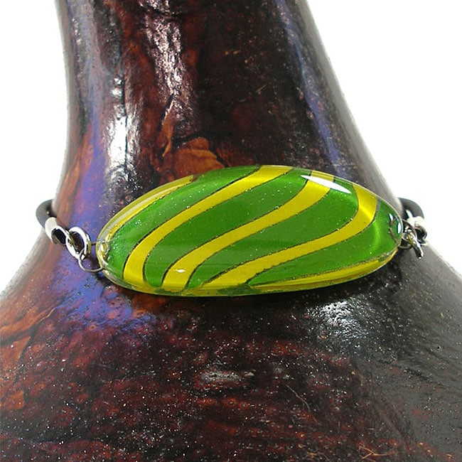 Glass Yellow and Green Oval Bracelet (Chile)