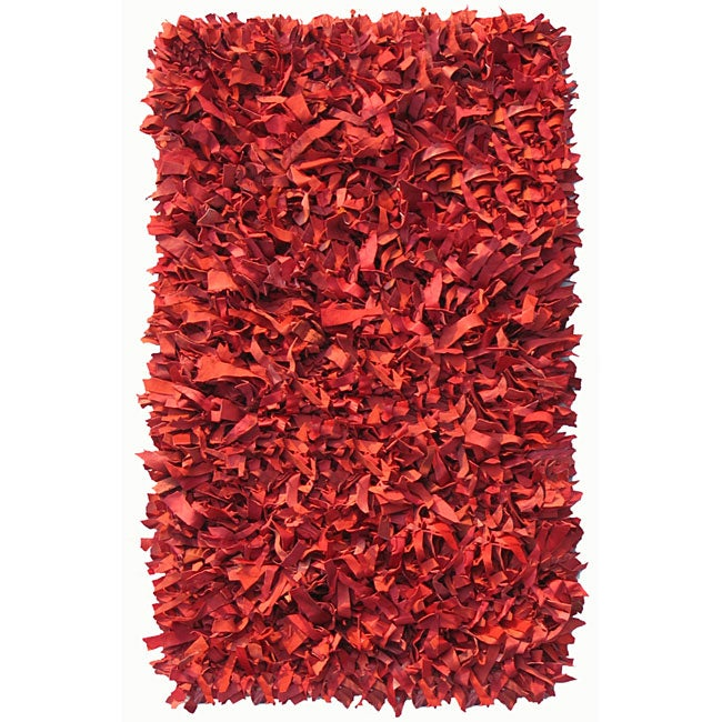 Deluxe Leather Red Shag Rug (5' x 8')
