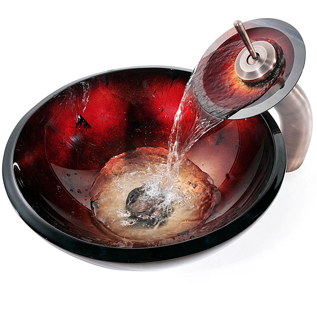 Kraus 19mm Galaxy Fire Red Sink/ Waterfall Faucet Orb