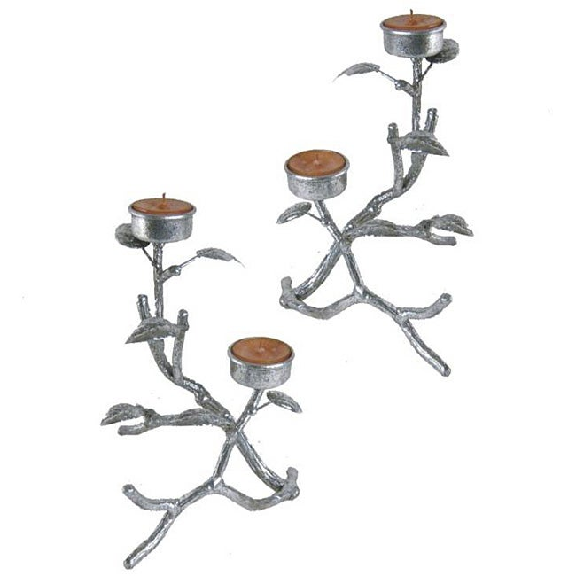 Silver Twig-n-Leaf Tealight Holders (Set of 2)