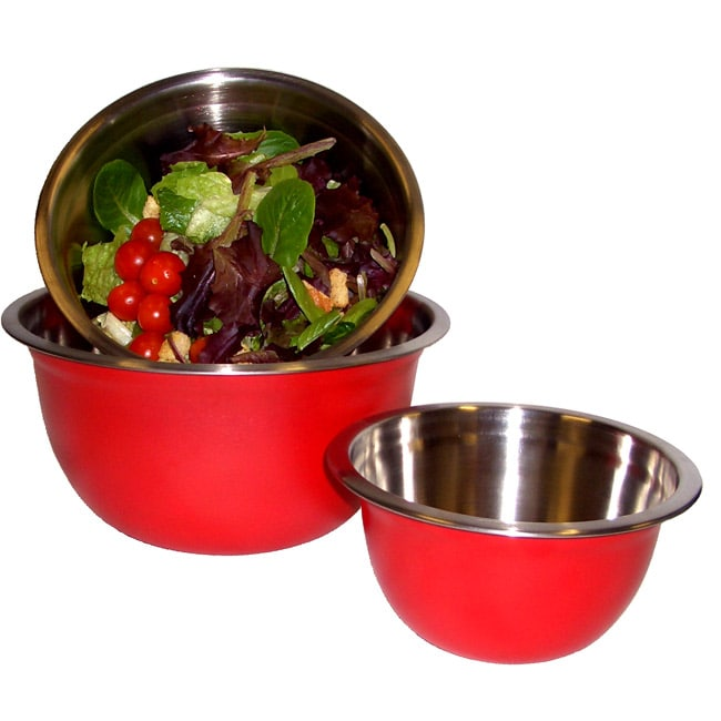 Stainless Steel Red Mixing Bowl (Set of 3)