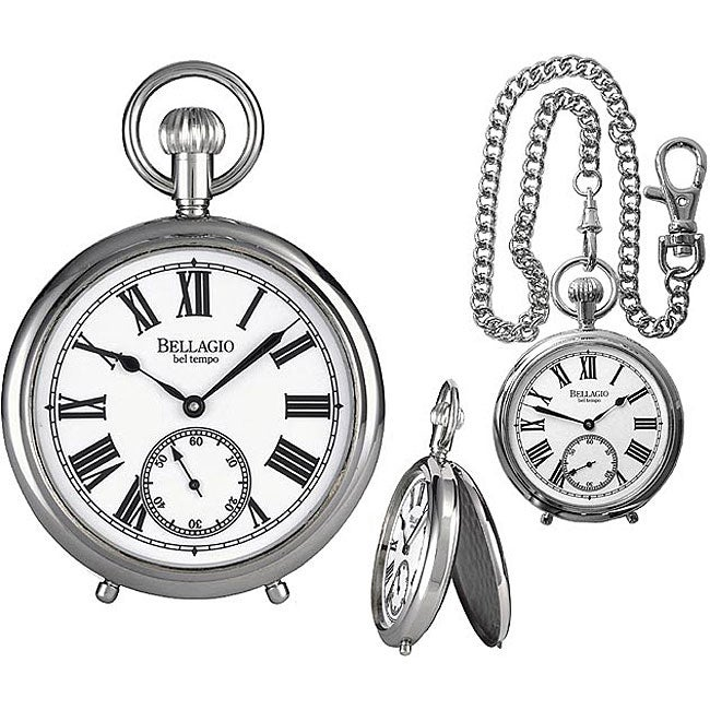 Bellagio Men's Classic Silvertone Mechanical Pocket Watch