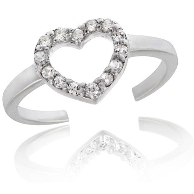 Icz Stonez Sterling Silver CZ Heart Toe Ring