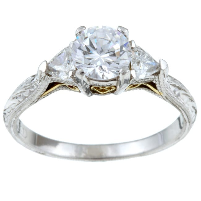 tacori platinum 18k gold cz 1 3ct tdw ring g
