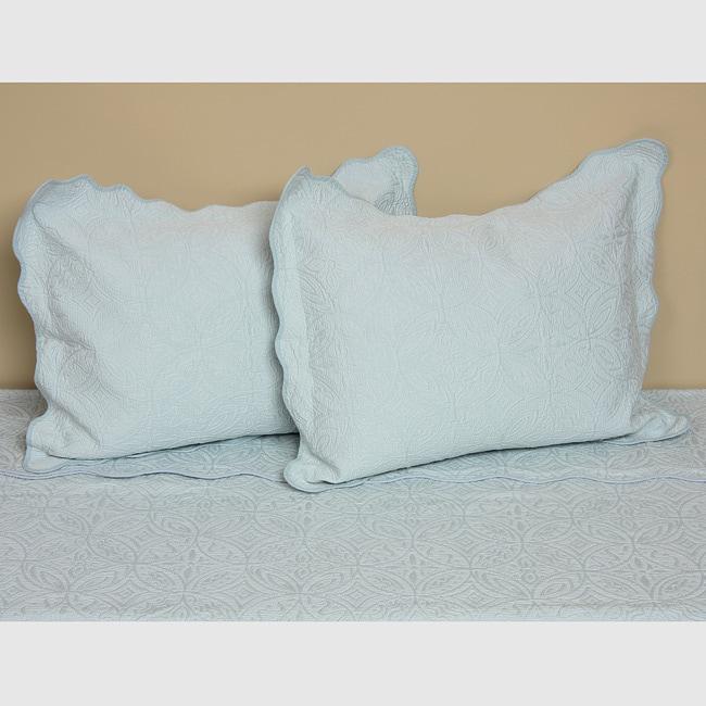 Coventry Pale Blue Matelasse Quilt Set