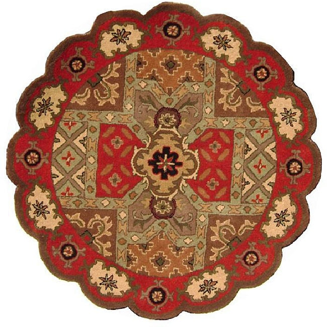 Hand Tufted Agra Red Gold Wool Rug 8 Round: Hand-tufted 'Charisma' Red Scalloped Wool Rug (8' Round